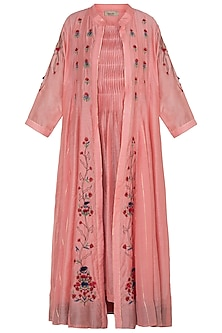 Blush Pink Printed Cape With Pants & Inner by NE'CHI