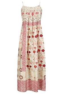 Ivory Vintage Floral Print Strappy Dress
