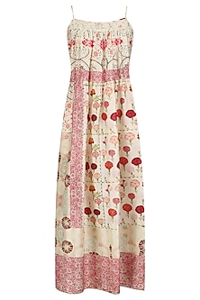 Ivory Vintage Floral Print Strappy Dress by Niki Mahajan