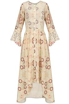 Ivory Vintage Floral Print High Low Dress