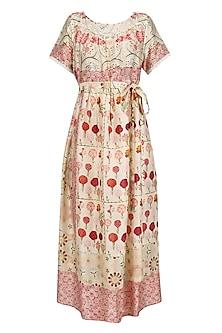 Ivory Vintage Floral Print Mid Length Half Dress