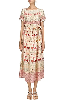 Ivory Vintage Floral Print Mid Length Half Dress by Niki Mahajan