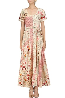 Ivory Vintage Floral Print Long Dress by Niki Mahajan