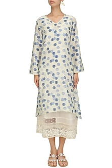 White and Blue Shibori Printed Tunic by Niki Mahajan