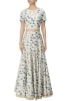 Ivory and Blue Printed Crop Top and Skirt Set by Niki Mahajan