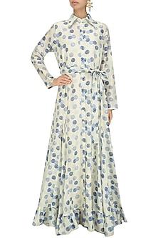 Ivory Vintage Shibori Printed Shirt Dress by Niki Mahajan