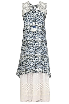Blue Embroidered Asymmetric Long Tunic by Niki Mahajan