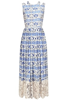 Blue Thread Embroidered Long Dress by Niki Mahajan