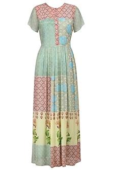 Pink and Blue Vintage Print High Low Drop Waist Dress by Niki Mahajan