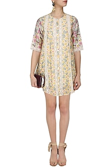 Yellow Floral and Plaid Print Short Dress by Niki Mahajan
