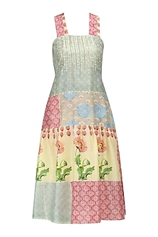 Grey, Beige and Pink Vintage Print Maxi Dress by Niki Mahajan