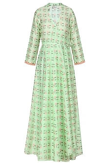 Green Vintage Floral Printed Motifs Wrap Dress by Niki Mahajan