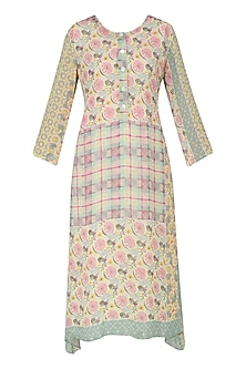 Yellow, Pink and Green Vintage Print Asymmetrical Dress