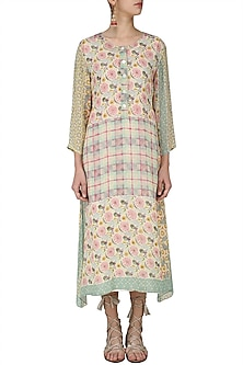 Yellow, Pink and Green Vintage Print Asymmetrical Dress by Niki Mahajan