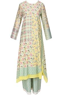 Yellow and Green Vintage Print Asymmetrical Kurta with Pants by Niki Mahajan