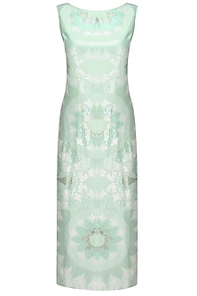 Aqua Blue and Silver Sequins Embroidered Mid Length Dress