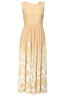 Beige Floral Embroidered Horizontal Striped Long Dress by Niki Mahajan