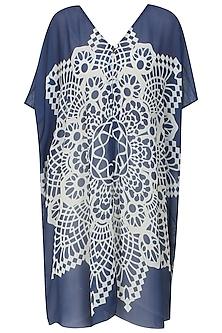 Navy Blue and White Geometric Print Wrap Kaftan