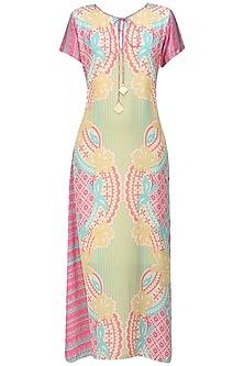 Yellow and Pink Floral Print Dress by Niki Mahajan