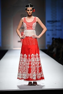 Red Lace and Thread Work Crop Top with Thread Work and Beads Skirt by Niki Mahajan