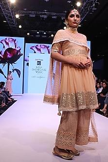 Coral Gota Patti Work Short Anarkali and Pants Set by Niki Mahajan