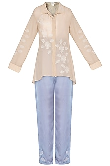 Beige embroidered top with pants