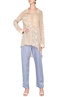 Beige embroidered top with pants by Nineteen89 by Divya Bagri