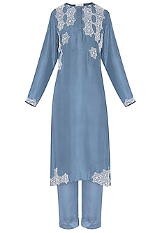 Blue embroidered kurta with pants by Nineteen89 by Divya Bagri