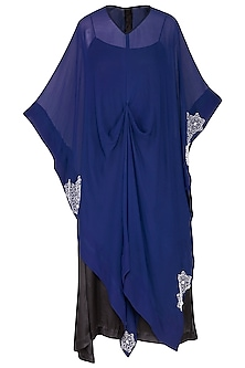 Indigo embroidered cape top with slip dress by Nineteen89 by Divya Bagri