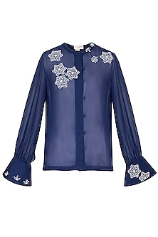 Indigo embroidered shirt