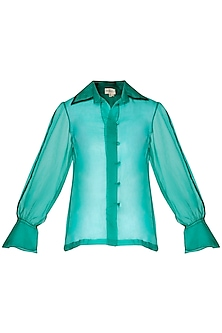 Emerald sheer embroidered shirt