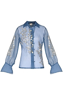 Powder blue sheer embroidered shirt