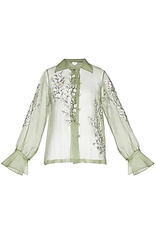 Olive green sheer embroidered shirt