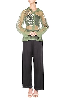 Olive green sheer embroidered shirt by Nineteen89 by Divya Bagri