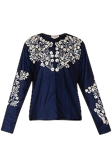Indigo embroidered jacket
