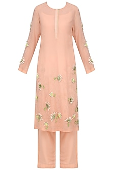 Peach Embellished Kurta with Straight Pants by Nineteen89 by Divya Bagri