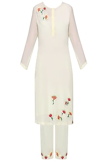 Ivory Embellished Kurta with Straight Pants