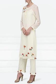 Ivory Embellished Kurta with Straight Pants by Nineteen89 by Divya Bagri