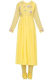 Yellow Embellished Kurta with Churidar Pants by Nineteen89 by Divya Bagri