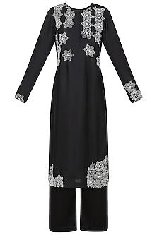 Black Embroidered Kurta with Palazzo Pants