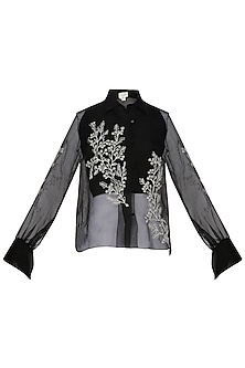 Black Embroidered Sheer Shirt
