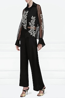 Black Embroidered Sheer Shirt by Nineteen89 by Divya Bagri