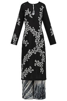 Black Embroidered Kurta with Shibori Palazzo Pants