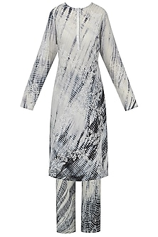 Black and White Shibori Embroidered Kurta with Palazzo Pants