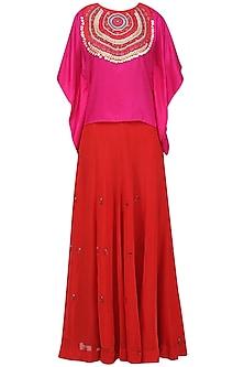 Pink Tribal Embroidered Kaftan Top with Lehenga Skirt Set