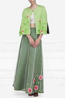 Mint Green Embellished Lehenga, Blouse and Cape Set by Nineteen89 by Divya Bagri