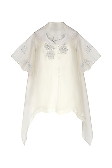 Off White Embroidered Asymmetrical Top