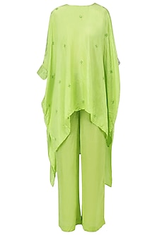 Fresh green embellished asymmetric top with pants