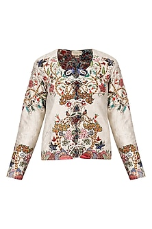 Beige 'birds of the forest' Embroidered jacket
