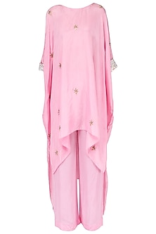 Rose pink gota asymmetric top with matching pants